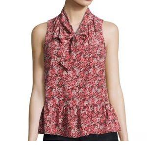 Joie Estero silk sleeveless top neck tie
